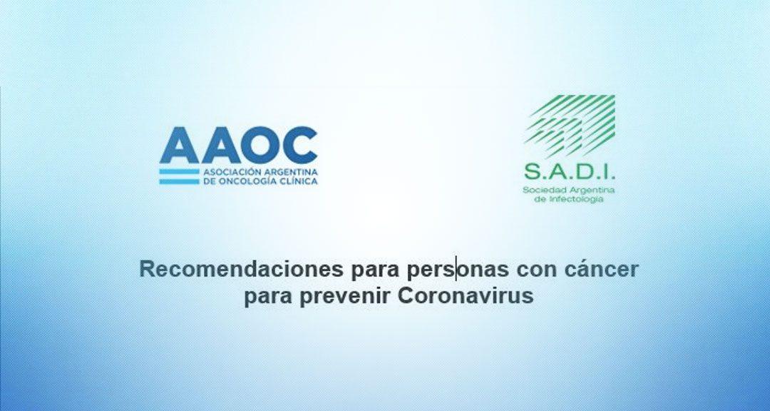 Coronavirus: recomendaciones para pacientes oncológicos