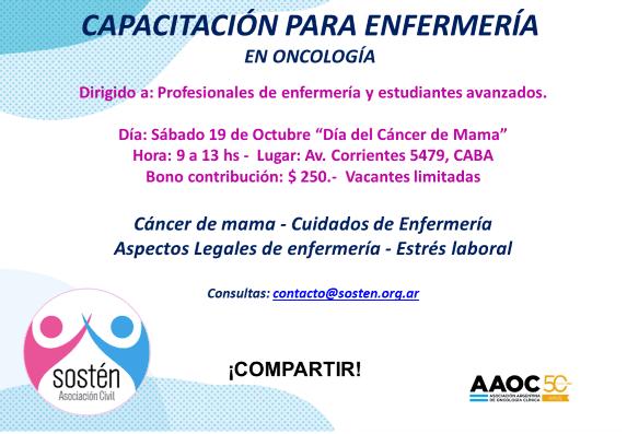 Capacitación para Enfermería Oncológica