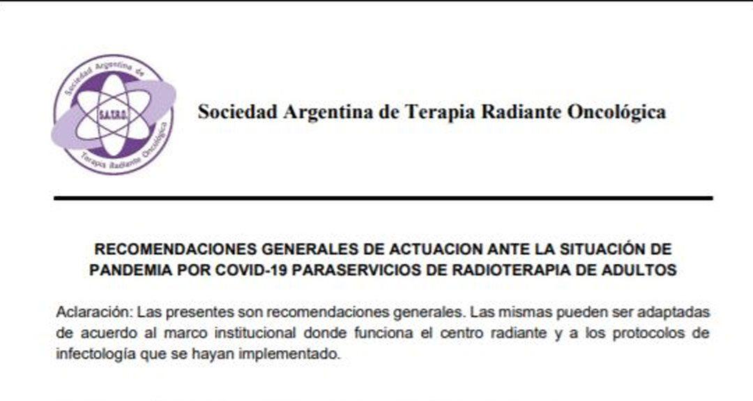Recomendaciones Generales de Actuación para Servicios de Radioterapia de Adultos